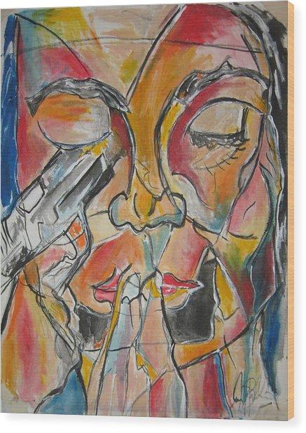 Stained Glass Assassinatiion Wood Print by Jon Baldwin  Art
