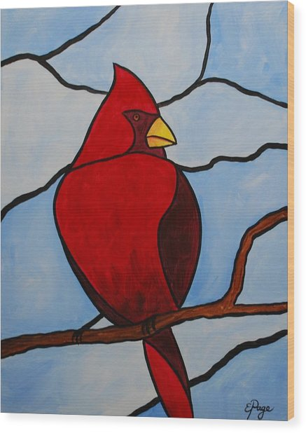 Stained Glass Cardinal Wood Print