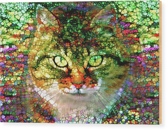 Stained Glass Cat Wood Print