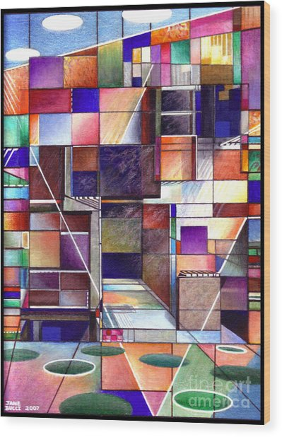 Stained Glass Factory Wood Print by Jane Bucci
