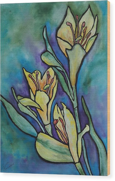 Stained Glass Flowers Wood Print