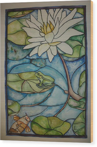 Stained Glass Frog Wood Print