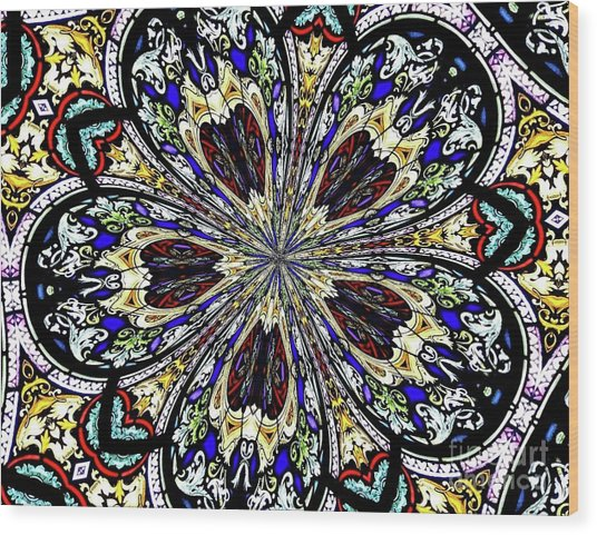 Wood Print featuring the photograph Stained Glass Kaleidoscope 38 by Rose Santuci-Sofranko
