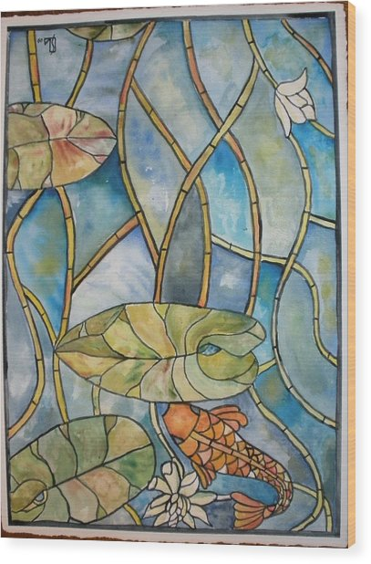 Stained Glass Koi Wood Print