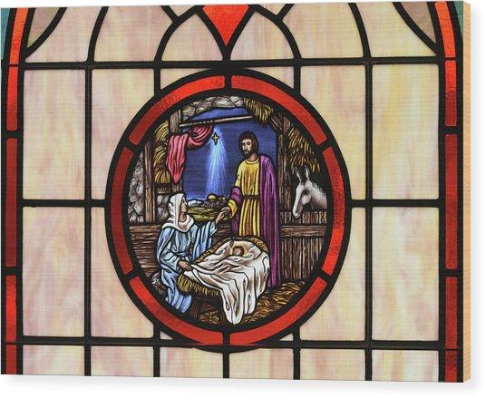Stained Glass Nativity Window Wood Print