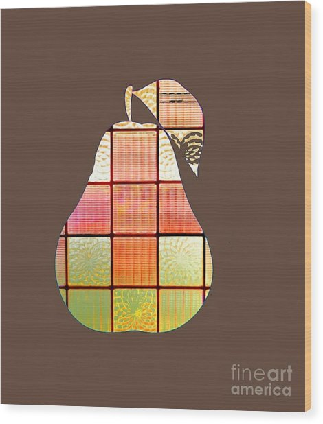 Stained Glass Pear Wood Print