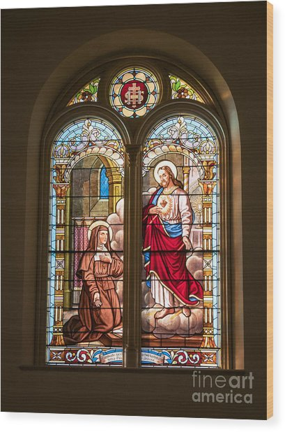 Wood Print featuring the photograph Stained Glass St. Stainslaus Winona Minnesota by Kari Yearous