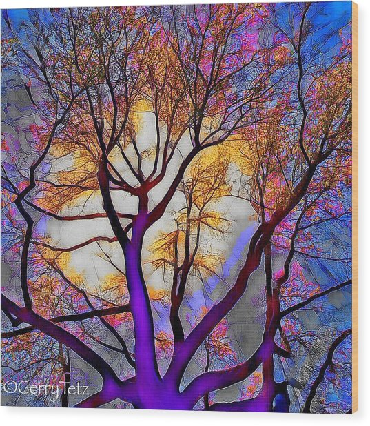 Stained Glass Sunrise Wood Print
