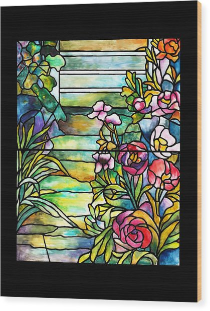 Stained Glass Tiffany Robert Mellon House Wood Print