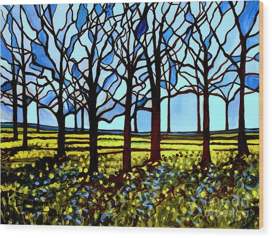 Stained Glass Trees Wood Print