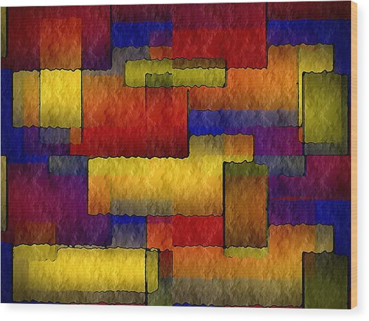 Stained Glass Wall Wood Print by Terry Mulligan