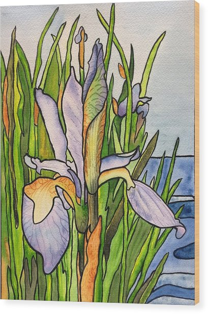 Stained Iris Wood Print