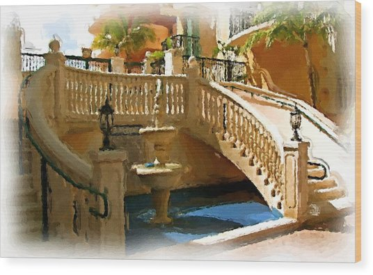 Staircase And Fountain Wood Print by Ralph Liebstein