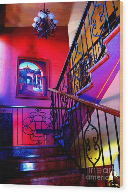 Staircase At Casa De Leyendas By Darian Day Wood Print by Mexicolors Art Photography