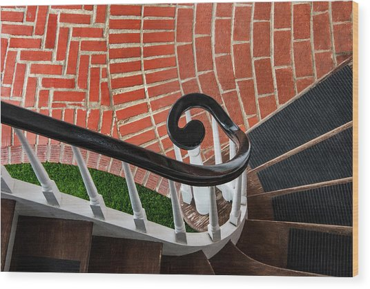 Staircase To The Plaza Wood Print