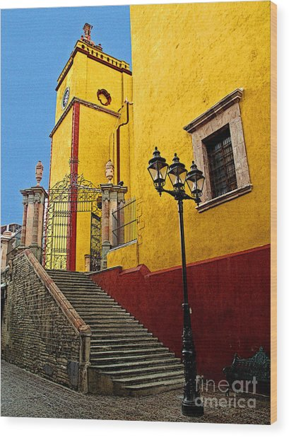 Staircase With Gate Wood Print by Mexicolors Art Photography