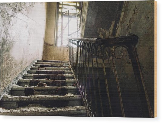 Stairs In Haunted House Wood Print