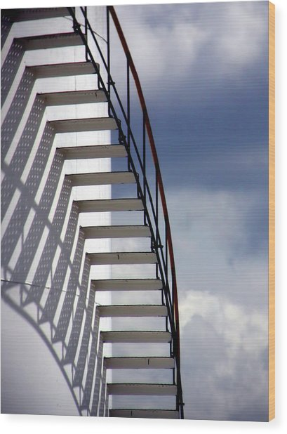 Stairs In The Sky Wood Print by David April