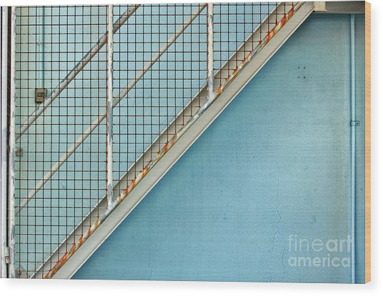 Stairs On Blue Wall Wood Print