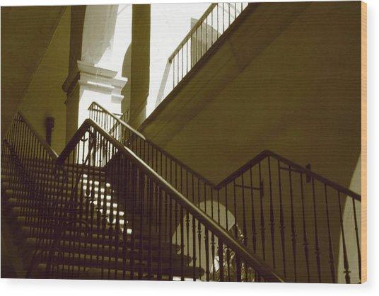 Stairs To 2nd Floor Wood Print by Nicholas J Mast