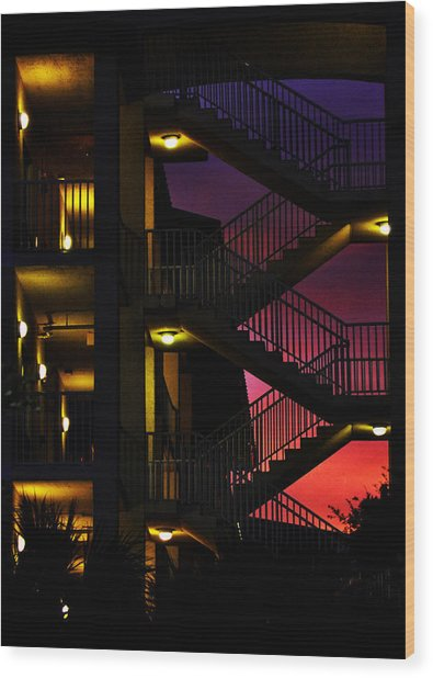 Stairway Silhouette At Sunset Wood Print