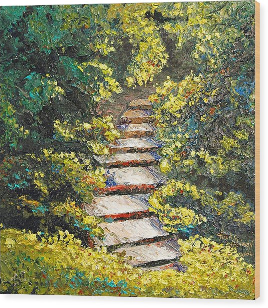 Stairway To Heaven Wood Print by Cathy Fuchs-Holman