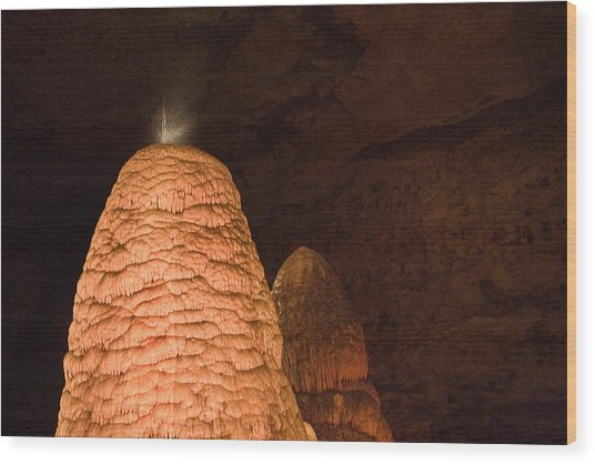 Stalagmite In Onandaga Cave Wood Print by David Coblitz