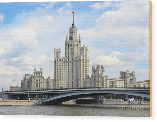 Kotelnicheskaya Embankment Building Wood Print