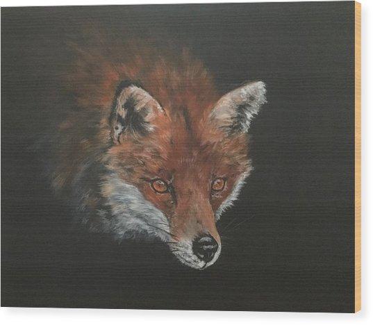 Red Fox In Stalking Mode Wood Print