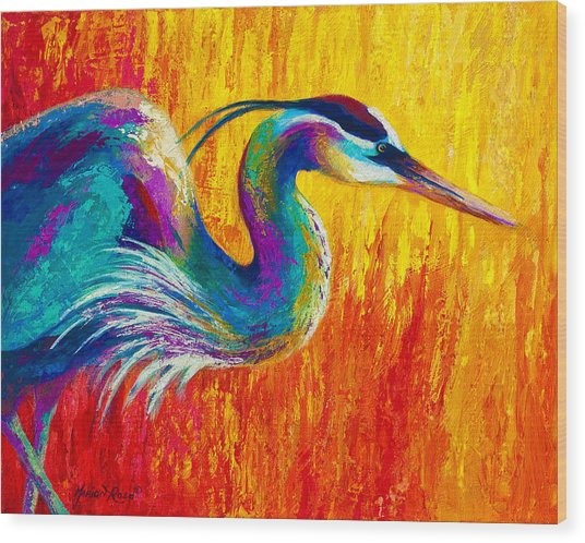 Stalking The Marsh - Great Blue Heron Wood Print