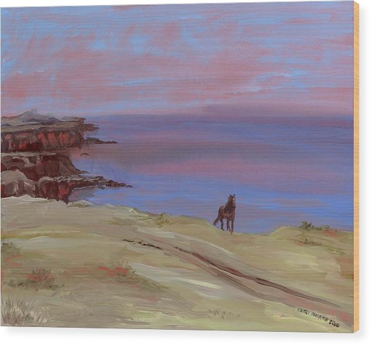 Stallion At Dingle Bay Wood Print by Cathy France