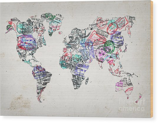 Stamp Art World Map Wood Print