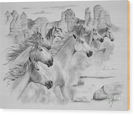 Stampede In Sedona Wood Print