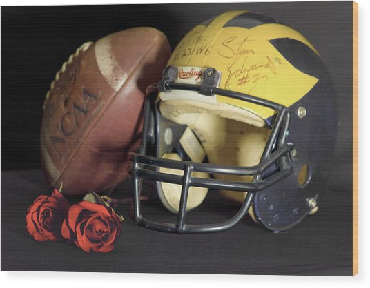 Stan Edwards's Autographed Helmet With Roses Wood Print