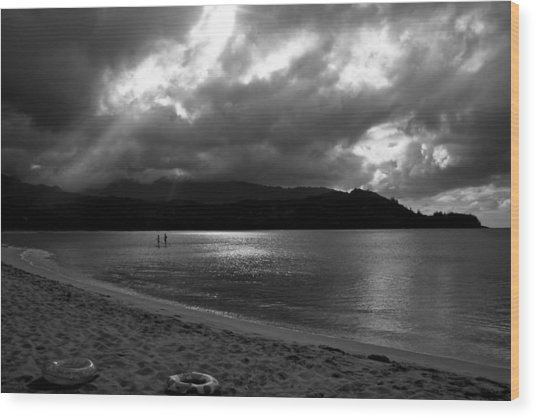 Stand Up Paddlers In Stormy Skies Wood Print
