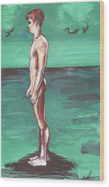 Wood Print featuring the painting Standig On A Cold Beach With Hesitation  by Rene Capone