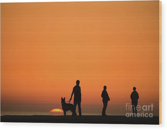 Standing At Sunset Wood Print