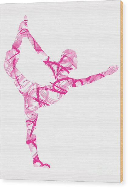 Yoga Pose Asana Standing Bow Pose Wood Print