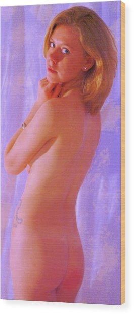 Standing Nude Blue Wood Print