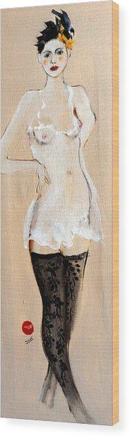 Standing Nude In Black Stockings With Flower And Bird In Hair Wood Print