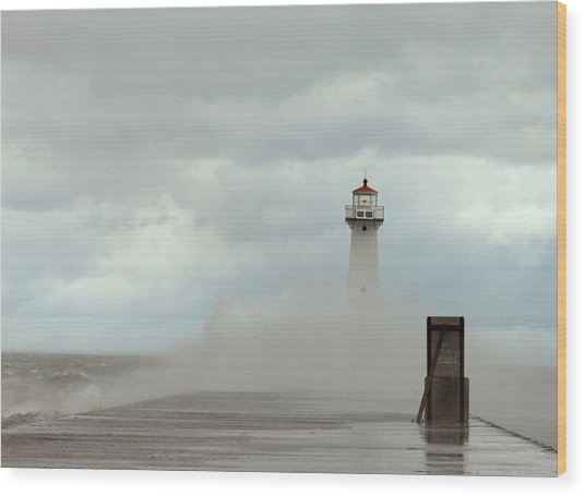 Standing Tall Against The Storm Wood Print