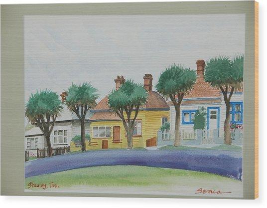 Stanley Cottages Wood Print by Serena Valerie Dolinska