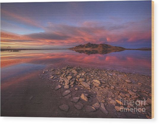 Sunset At A Favorite Spot On The Great Salt Lake Wood Print
