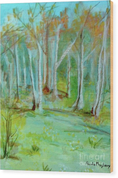 Stanwick Lakes Trees Wood Print