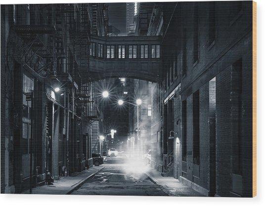 Staple Street Skybridge By Night Wood Print