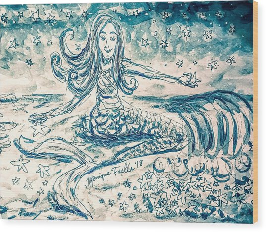 Star Bearer Mermaid Wood Print