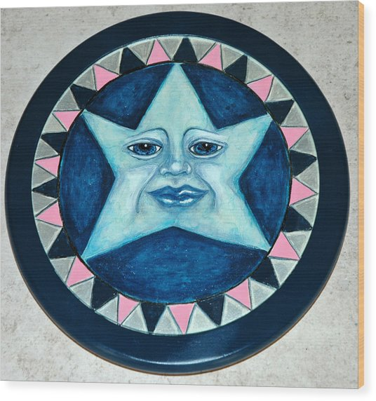Star Face Lazy Susan Wood Print by Mickie Boothroyd