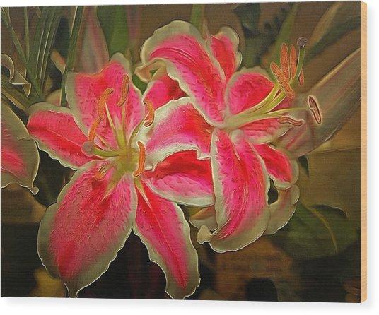 Star Gazer Lilies Wood Print