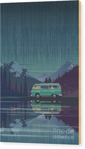 Star Light Vanlife Wood Print