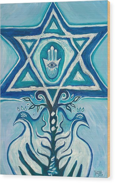 Star Of David Wood Print
